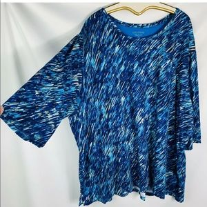 Catherine's 5x  tunic blue black tan 3/4 sleeves